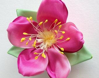 Pink Rose Brooch - Ribbon Pin - Wild Beach Rose - French Ribbon - Handmade