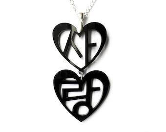 Love in Korean Hangul Statement Necklace (Sarang) Black Ivory, Korean Valentine's Gift For Her, Wedding Jewelry, Korean Anniversary Present