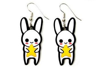 Cute Star Bunny Charm Earrings, Korean White Rabbit, Kawaii Japanese Usagi, Easter Art Jewelry, Chinese Zodiac Year, Gift for her