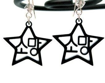 Korean Hangul Wish Earrings (Somang) BLACK, Friendship Gift for Her, Wish on a Star Shaped Jewelry, Anniversary Love Earrings, Kpop Fan Gift
