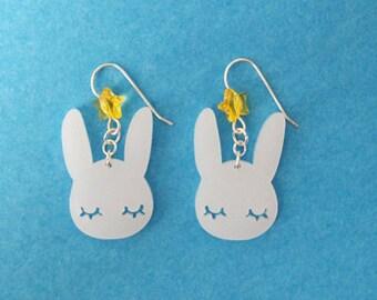 Cute Naptime Bunny Star Earrings, White Rabbit of the Moon Jewelry, Sleepy Korean Tokki, Kawaii Japanese Usagi, Chinese Zodiac Year Gift Her