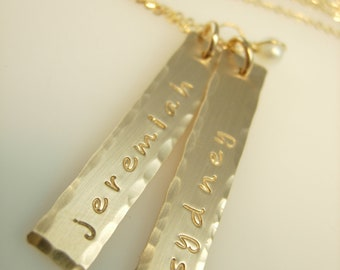 Hammered Edge Gold Bars Necklace
