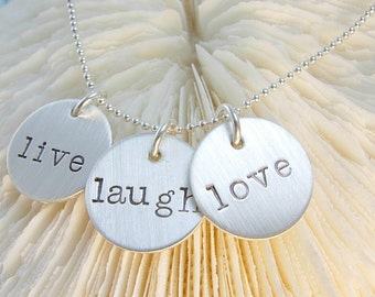 Hand Stamped Jewelry- LIVE,LAUGH,LOVE sterling silver necklace