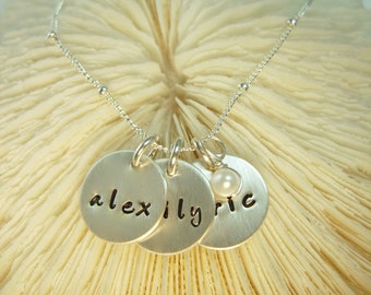 Hand Stamped Necklace -  Silver