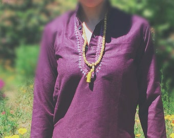 Aubergine Kurta with Embroidered Neckline