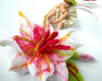 sale  sale      Felted Flower, Hand Felted, Wool Jewelry felted RING AND  BROOCH