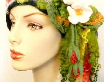 sale  felted woman ART  beret