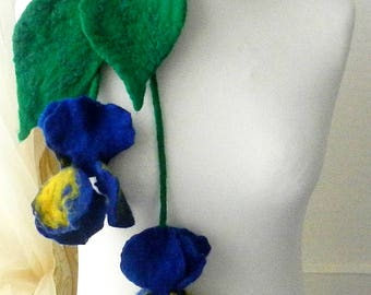 sale  sale  Felted Flower, Hand Felted , Wool Jewelry felted NECKLACE--iris--