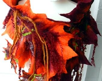 sale  sale  felted woman ART scarf  ,shawl-AUTUMN KISS-