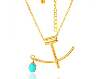 gold pendant chain Necklace, Turquoise Gold Necklace,Anchor Necklace- Natural gemstone jewelry, Minimalist, Modern jewelry by TANEESI