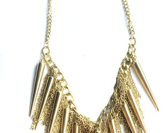 CLEARANCE SALE Gold Fringe Necklace, Steampunk Gold Spiked BIB Necklace, Tribal,modern edgy Jewelry by Taneesi