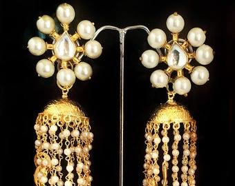 Kundan JHUMKAS,KASHMIRI jhumka Pearl Chandelier Earrings ,Freshwater Pearl earrings,Gold and pearl Jhumkas,Kundan Jewellery sale  by TANEESI