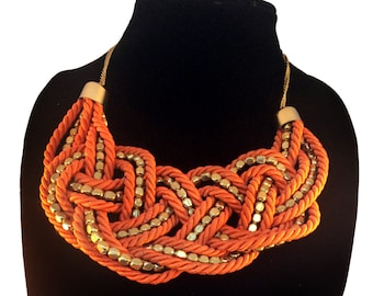 Orange statement Necklace,Nautical bib Necklace,Statement Jewelry,silk thread jewelry,Gold  Necklace by Taneesi