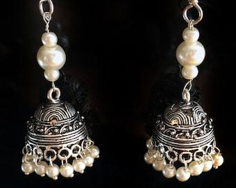 SALE Pearl JHUMKA Earrings,SILVER Jhumkas, Earrings Ethnic ,Silver tribal Jhumkis,Indian Jewelry ,handmade artisan Jewelry by Taneesi