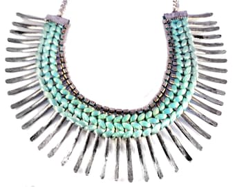 Silver Fringe Necklace,Bib Necklace,Statement Jewelry,Holiday Jewelry,Sea green silk thread Necklace by Taneesi