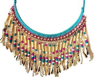 Tassel necklace,Turquoise Gold Tassel Necklace,Blue Bib ,Fringe Necklace,CHOKER,Bohemian Jewelry by Taneesi
