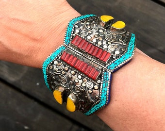 Antique Silver CUFF Bracelet,Nepal Tribal cuff- Wide Amber Turquoise Coral cuff, STATEMENT Afghan ethnic jewelry, Rare Antique Jewelry OOAK
