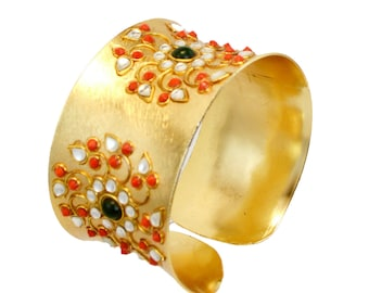 Gold Cuff Bracelet ,Coral bangle-Antique Kundan Jewelry,fusion cuff,Statement Jewelry,Baroque Wedding Bracelet by Taneesi.