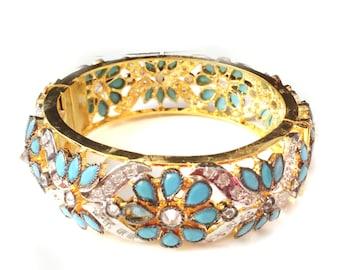 Turkish bangle bracelet,Turquoise Bracelet, Turquoise Gold Statement jewelry,Gold vermeil 22K-stackable bracelet-designer by Taneesi