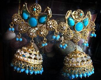 Turquoise Blue gold Filigree Earrings,Victorian Chandelier Earrings,Turkish Jewellery,Indian wedding ,Royal ethnic Jewelry by Taneesi