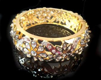 Gold Bangle Bracelet,Turkish jewelry,rhodium plated,Statement Bangle bracelet,Unique art deco,Indian fusion jewelry by Taneesi