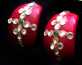 Red Gold Kundan earrings,hand painted Earring Red gold Bridal Earrings -Indian Jewellery bohemian bride,red gold stud earrings
