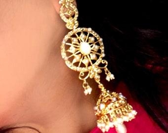 Pearl gold Victorian Earrings,large gold jhumka Chandelier Earrings,Turkish Jewellery,Indian wedding jewelry,Royal ethnic Jewellery Taneesi