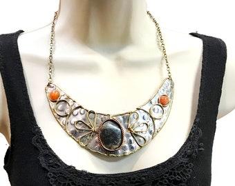silver hammered bib Necklace, Onyx stone necklace, Boho Statement Jewelry, Modern Necklace, Rare handmade Jewelry