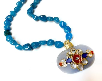 Blue  red Onyx Necklace, Onyx Kundan Necklace designer, Gold wirework , Pendant Necklace by Taneesi Jewelry