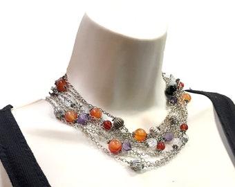 Silver Choker Bib Necklace, Purple Amethyst, Red Carnelian, Red garnet and Clear Quartz gemstones, Statement bib Celtic minimalist Necklace