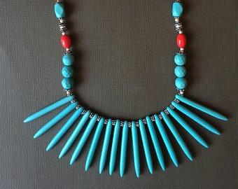 Tribal necklace,Turquoise Necklace,Statement spike Necklace,Modern Jewelry,beach jewelry,Nepal Necklace,Tibetan jewelry