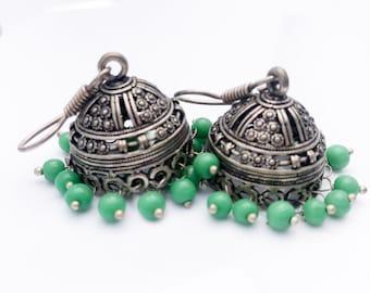 SILVER JHUMKA Earrings boho tribal earrings, light Green Ethnic Boho Indian Jewelry handmade by Taneesi