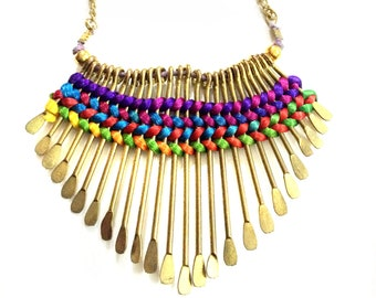 Multicolored Gold Fringe Necklace,Gold Bib Necklace,Statement Jewelry,silk thread inlay,Summer Necklace by Taneesi