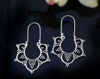 Silver Hoop Earrings,Dangle  Earrings,Tribal silver hoops-Belly Dancers Jewelry-Bedouin Afghan ornaments-Boho gypsy Earrings by Taneesi