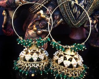 Large Gold Jhumkas on hoops,Gold Hoop Earrings,Green,gold & Pearl earrings ,Chandelier,Indian Jewellery,Handmade by Taneesi YH444G