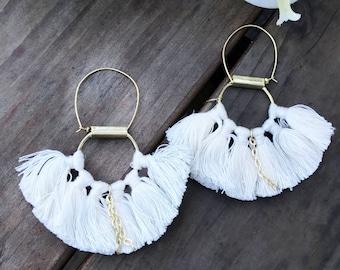White Tassel hoop earring- Gold Half moon earrings-Boho tassel earrings- Moon Earrings -Tribal Jewelry Hoop Earrings-fringe earring AEH138V