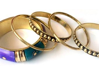 Gold Bangle Set,Purple Blue Gold Stacking bangle set, Gold Bangles,Set of 5 bangles, Handmade Indian Bangles Dainty Statement jewellery