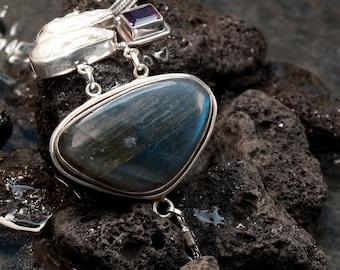Rare Pearl Labradorite Bracelet,Birthstone Jewelry,Purple Amethyst Gemstone-Statement 925 sterling silver bracelet,Fine jewelry