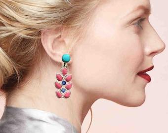 Coral Turquoise Earrings, tree earrings-branch earring-Nepal Jewelry,Boho Antique Earrings,Tibetan jewelry,Afghan Jewelry by Taneesi