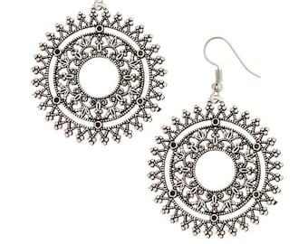 Mandala earrings-Antique moon earrings- Tribal jewelry-Antique Finish -Kucchi Jewelry -Afghan Jewelry-Ornate dangle Earrings