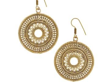 CLEARANCE SALE Gold Mandala earring-Chakra Dangle-Gold Jewelry-Bohemian-Tribal Brass earring,Ethnic boho,jewelry coachella YH105