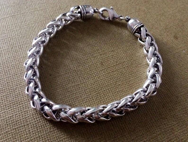 Silver chain braceletFoxtail Chain BraceletWheat chain image 0
