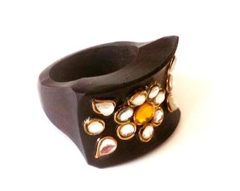 Wood Ring,trendy Kundan Ring,US Size 8Fusion jewelry Etsy trending,Ethnic Jewelry,Handmade Royal mughal Jewellery by Taneesi