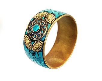 Gold Tribal Bracelet,Blue Turquoise Bangle cuff,Mosaic STATEMENT Cuff  Afghan ethnic jewelry,Bedouin Gypsy,Bohemian,Boho