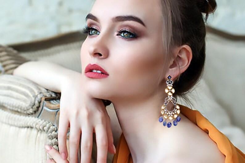 Kundan Earrings-bridal Fine jewellery.925 sterling Silver 22k image 0