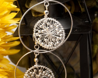 CLEARANCE SALE Earrings Silver Tribal Ethnic Handmade Silver Beaded Wire work Hoop EARRINGS