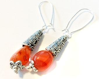 Carnelian Earrings,Orange Gemstone Earrings,Silver earrings,Orange Dangle Earrings,Tibetan Silver hook earrings by Taneesi
