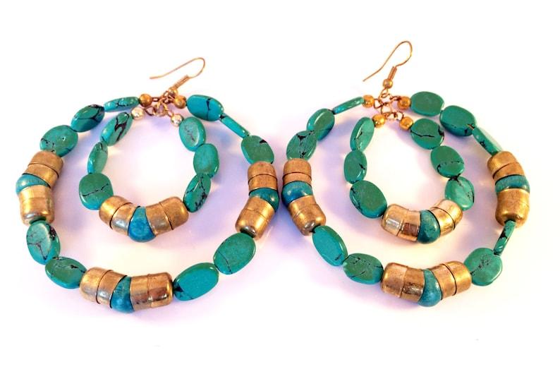 CLEARANCE SALE Turquoise Gold hoop earrings,Blue gold hoop earrings,Bohemian jewelry,Large hoops Handmade Earrings,Etsy Jewelry by TANEESI