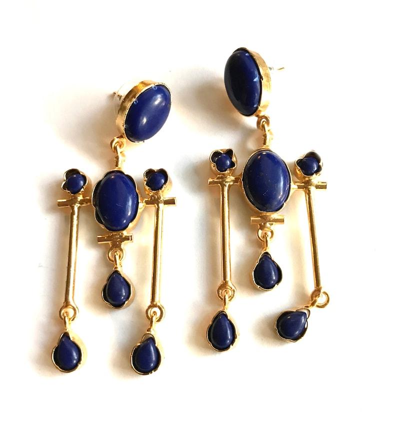 Lapis gold earringsgold filled EarringsModern Minimalist image 0
