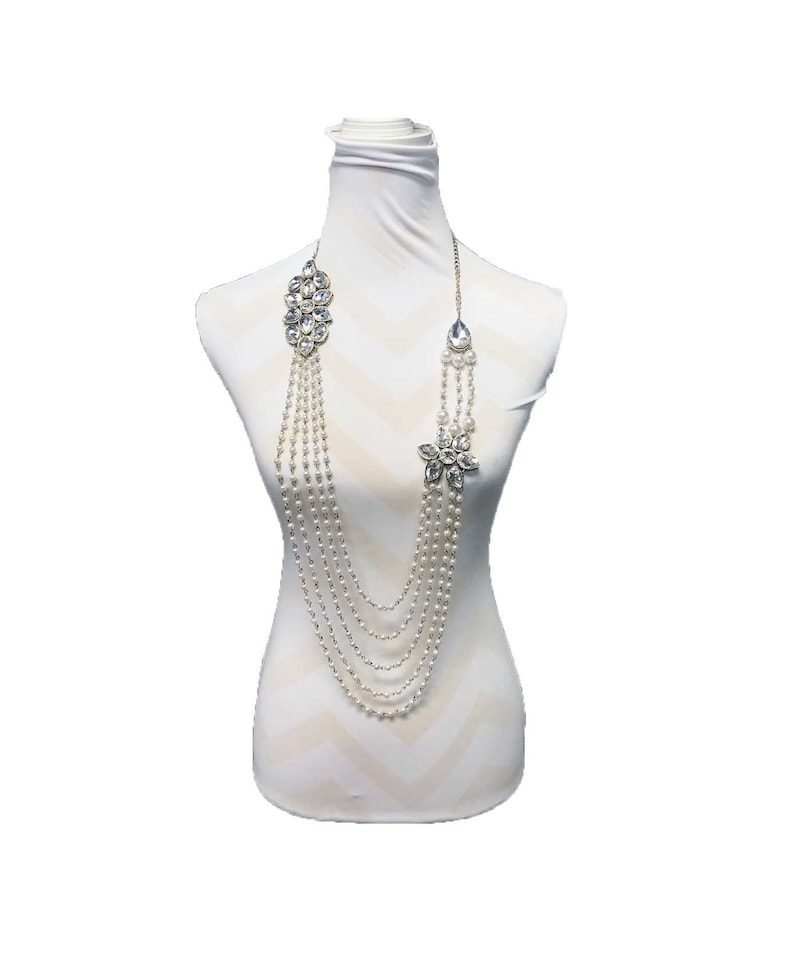 Long Pearl Necklace-Prom Jewelry-heavy Bridal crystal image 0